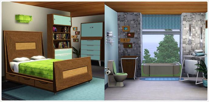 Jaren 50 moderne slaap en badkamer sims3 xd sims news for Simsoucis